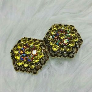 Jewelry - Honeycomb Hideaway Rhinestone Clip-On Earrings